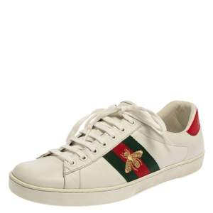 Gucci White Leather  Ace Bee Lace Up Low Top Sneakers Size 42.5