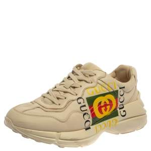 Gucci Off White Leather Rhyton GG Square Logo Low Top Sneakers Size 41.5