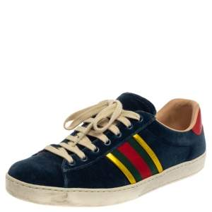 Gucci Blue Velvet And Leather Web Ace Sneakers Size 41.5