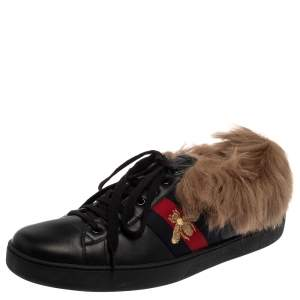 Gucci Black Leather And Fur Ace Web Strap Sneaker Size 44