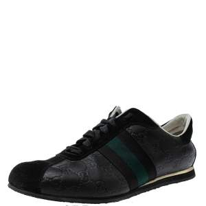 Gucci Black Guccissima Leather And Suede Lace Up Sneakers Size 41.5