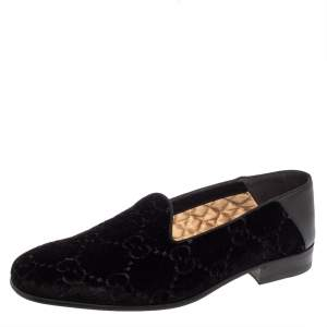 Gucci Black Guccissima Velvet And Leather Loafers Size 41