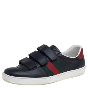 Gucci Black Leather Ace Velcro Sneakers Size 41