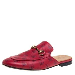 Gucci Red GG Ghost Print Leather Princetown Horsebit Mules Size 42.5