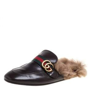 Gucci Brown Leather And Fur Lined GG Web Princetown Mules Size 41