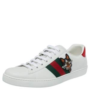 Gucci White Leather Dog New Ace Low Top Sneakers Size 44