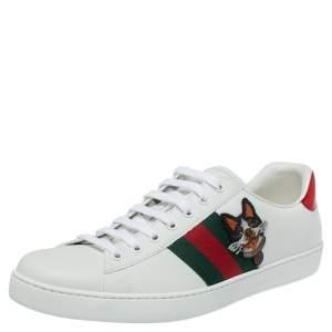 حذاء رياضي غوتشي نيو ايس مزخرف كلب منخفض من أعلى جلد أبيض مقاس 44