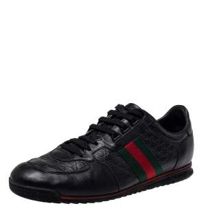 Gucci Black Guccissima Leather Web Detail Lace Up Sneaker Size 43.5