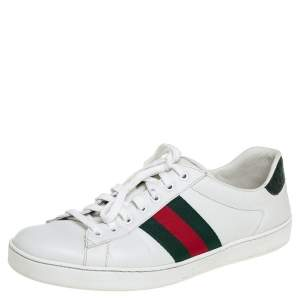 Gucci White Leather And Canvas New Ace Sneakers Size 43