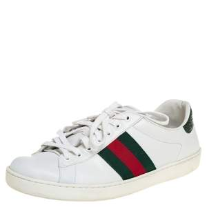 Gucci White Leather Ace Web Low Top Sneakers Size 42