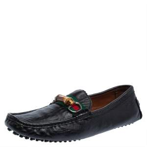 Gucci Black Leather Bamboo Horsebit Slip On Loafers Size 43
