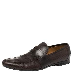 Gucci Brown Diamante Leather Driver Loafers Size 44.5