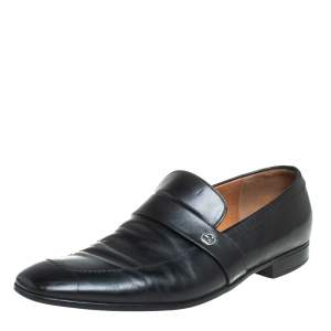 Gucci Black Leather GG Interlocking Slip On Loafers Size 44