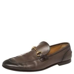 حذاء لوفرز غوتشى سليب أون هورسيبت جلد بني مقاس 43