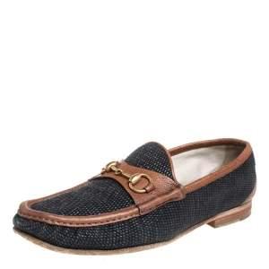 حذاء لوفرز غوتشي 1955 هورسبيت سليب أون جلد و كانفاس بني و أزرق مقاس 43