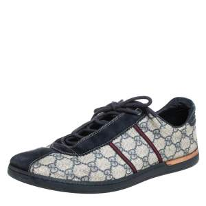 Gucci Blue/Beige Guccissima Coated Canvas And Suede Low Top  Sneakers Size 43.5