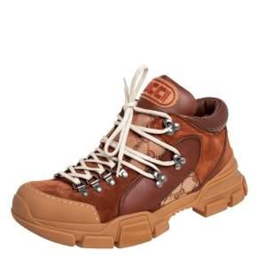 حذاء رياضي غوتشي فلاشتريك جلد وسويدي بني منخفض من أعلى مقاس 42