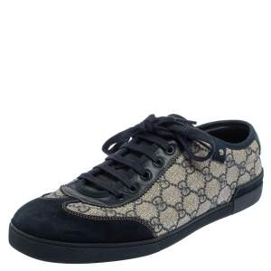 Gucci Blue/Beige GG Canvas And Suede Low Top Sneakers Size 42