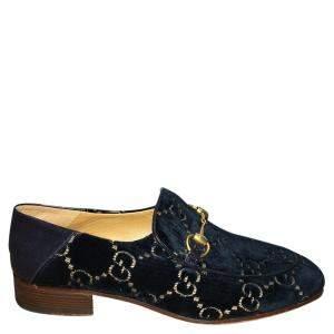 Gucci Blue Jordaan GG Velvet Loafers US 9/ EU 42.5