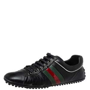 Gucci Black Leather Perforated Detail Web Low Top Sneakers Size 42
