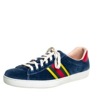 Gucci Blue Velvet And Leather Web Ace Sneakers Size 45