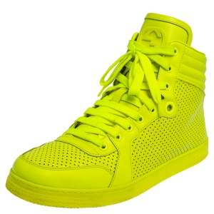 Gucci Neon Green Leather High-Top Sneakers Size 42