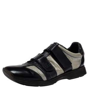 Gucci Black/Grey Leather And Mesh Double Velcro Sneakers Size 45