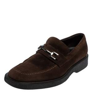 Gucci Vintage Brown Suede Horsebit Slip On Loafers Size 44.5