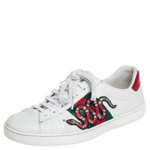 Gucci White Leather Snake Sneakers Size 39.5