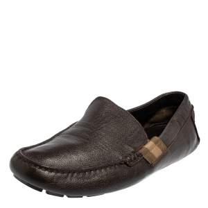 Gucci Dark Brown Leather Slip On Loafers Size 43.5