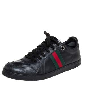 Gucci Black Leather Web Detail Low Top Sneakers Size 45