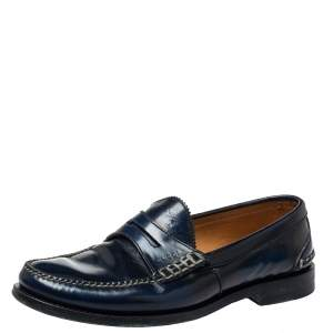 Gucci Two Tone Leather Penny Slip On Loafers Size 42