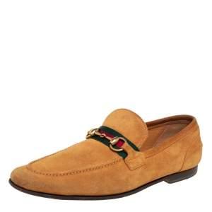 حذاء لوفرز سليب أون غوتشي ويب هورسبيت سويدي أصفر مقاس 41.5