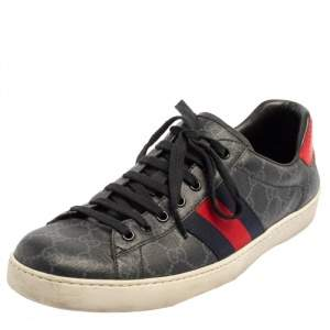 Gucci Grey GG Supreme Canvas Ace Low Top Sneakers Size 44.5