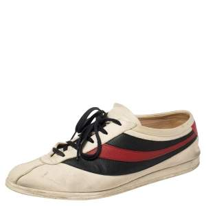 Gucci White/Blue Leather Falacer Sneakers Size 44