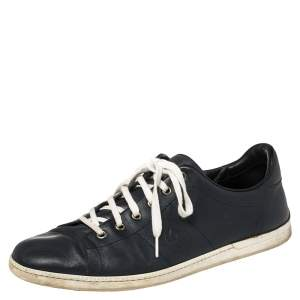 Gucci Blue Leather Lace Up Sneakers Size 44