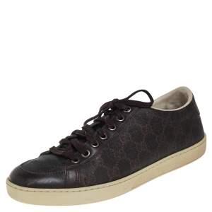 حذاء رياضي غوتشي منخفض من أعلى جلد و كانفاس مقوى غوتشيسيما بني مقاس 39
