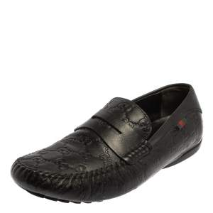 Gucci Black Guccissima Leather Loafers Size 41.5