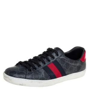 Gucci Grey GG Supreme Canvas Web Ace Low Top Sneakers Size 41
