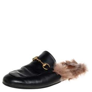 Gucci Black Leather And Fur Princetown Mules Size 44.5