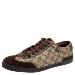 Gucci Brown/Beige GG Coated Canvas and Suede Low Top Sneakers Size 42.5