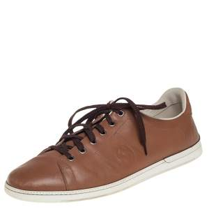 Gucci Brown Leather Interlocking GG Lace Up Sneakers Size 44