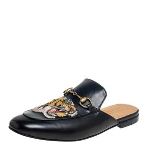 Gucci Black Tiger Embroidered Leather Princetown Horsebit Mules Size 44