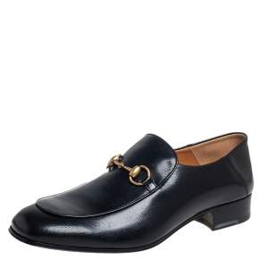 حذاء لوفرز غوتشي سليب أون هورسبيت جلد أسود مقاس 44.5