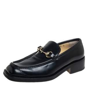 حذاء لوفرز غوتشي سليب أون مقدمة مربعة مزين هورسبيت جلد أسود مقاس 40.5