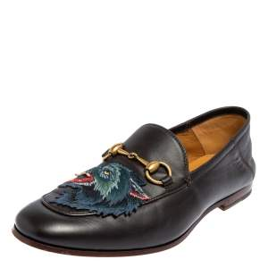 حذاء لوفرز غوتشي هورسبيت أبليك ولف بريكستون جلد بني مقاس 40