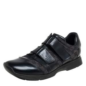 Gucci Black Guccissima Canvas And Leather Velcro Derby Size 44.5