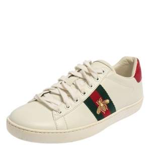 Gucci White Leather And Canvas Ace Bee Sneakers Size 37
