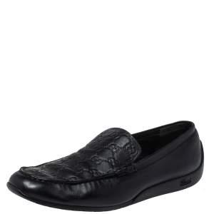 Gucci Black Guccissima Leather GG Loafers Size 44