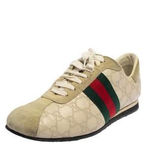 Gucci Cream Suede And Leather Web Low Top Sneakers Size 43.5